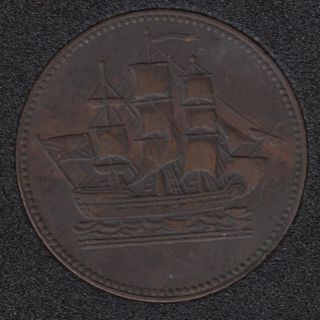 P.E.I. 1835 - Ship Colonies & Commerce - Half Penny Token - PE-10-27