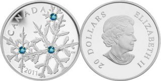 2011 - $20 - Fine Silver Coin - Montana Blue Small Crystal Snowflake