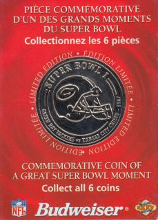 2001 - Great Super Bowl Moments - Budweiser All 6 Coins - 1967 1973 1983 1991 1995 2000