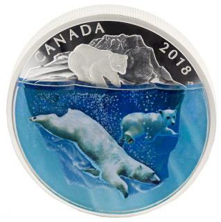2018 - $30 - 2 oz. Pure Silver Coin - Dimensional Nature: Polar Bears