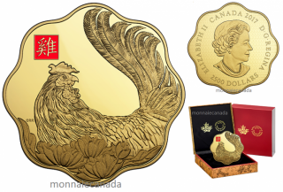 2017 - $2500 - Pure Gold One Kilogram Coloured Coin – Year of the Rooster