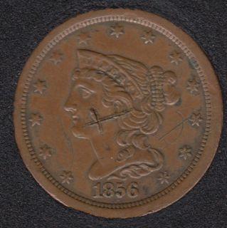 1856 - Braided Hair Demi Cent - Érafflures