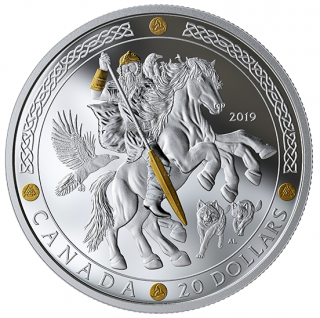 2019 - $20 -   Pure Silver Gold-Plated Coin - Norse Gods: Odin