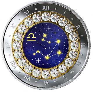 2019 - $5 - Pièce en argent pur rehaussée de cristaux Swarovskiᴹᴰ – Signes du zodiaque : Balance