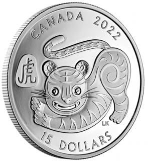 2022 - $15 - Pièce de 1 oz en argent pur - Année lunaire du Tigre