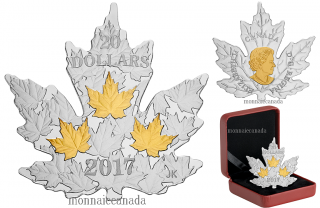 20147 - $20 - 1 oz. Pure Silver Gold-Plated Coin - Gilded Silver Maple Leaf