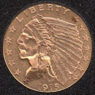 US 1915 Indian Head $2.50 Quarter Eagle Gold Coin