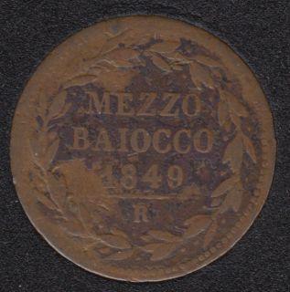 1849 R IIII - 1/2 Baiocco - Papal States - Italie