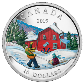 2015 - $10 - 1/2 oz. Fine Silver Coin - Winter Scene