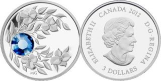 2012 - $3 - September Birthstone (Sapphire) - Fine Silver Coin
