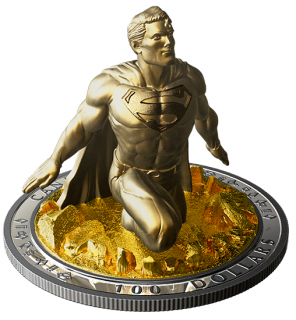 2018 - $100 - 10 oz. Pure Silver Gold-Plated Coin - Superman™: The Last Son of Krypton