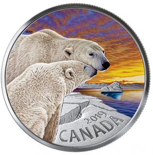 2019 - $20 - 1 oz. Pure Silver Coloured Coin - The Polar Bear: Canadian Fauna