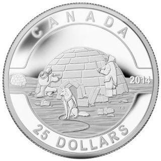 2014 - $25 - Pièce de 1 oz en argent fin - L'igloo