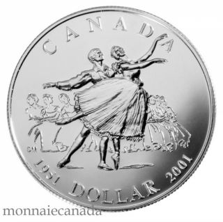 2001 - Brillant Uncirculated Silver Dollar National Ballet Of Canada