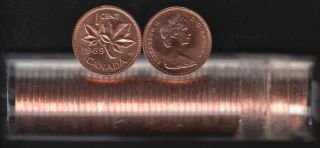 1969 Canada 1 Cent - BU ROLL 50 Coins - UNC - in Plastic Tube
