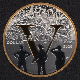 2020 1945 - Proof - Argent Fin - Plaqué Or - Canada Dollar