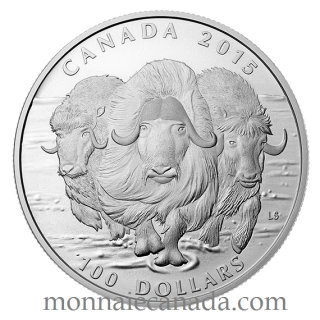 2015 - $100 for $100 - Fine Silver Coin - The Muskox