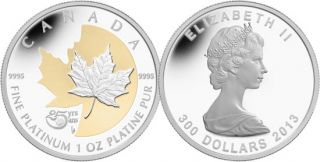2013 - $300 - 1 oz Fine Platinum Coin - 25th Anniversary of the Platinum Maple Leaf