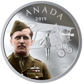 2019 - $20 - 1 oz. Pure Silver Coloured Coin - Billy Bishop