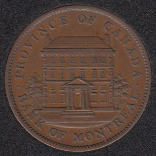 P.C. 1842 Penny Token Banf of Montreal View - EF - PC-2B