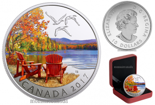 2017 - $10 - 1/2 oz. Pure Silver Coloured Coin - Iconic Canada: Autumn's Palette
