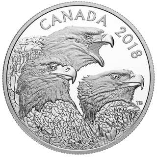 2018 - $15 - 1 oz. Pure Silver Coin - Magnificent Bald Eagles