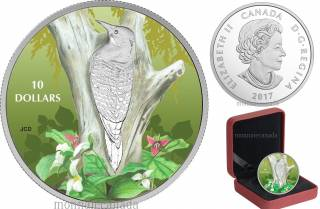 2017 - $10 - 1/2 oz. Pure Silver Coloured - Birds Among Nature's Colours - Northern Flicker
