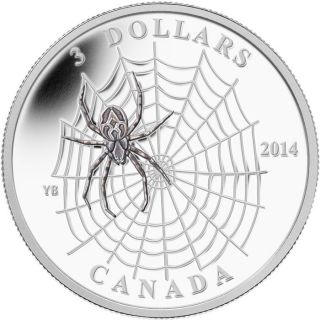 2014 - $3 - 1/4 oz. Fine Silver Coin - Animal Architects: Spider and Web