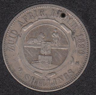 1896 - 2 Shillings - Troué - Afrique du Sud