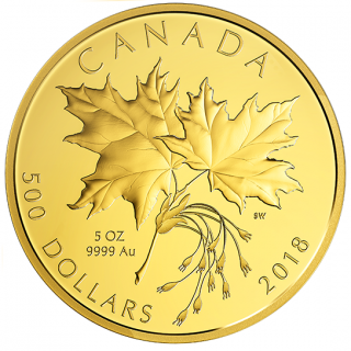 2018 - $500 - 5 oz. Pure Gold Coin - Maple Leaves