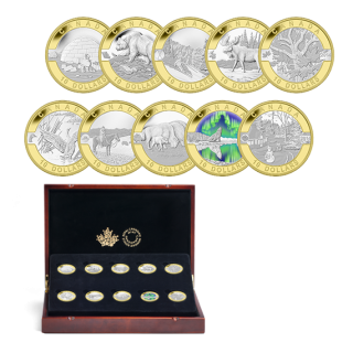 2014 - $10 - 1/2 oz. Fine Silver Gold-Plated 10 Coin Set – O Canada