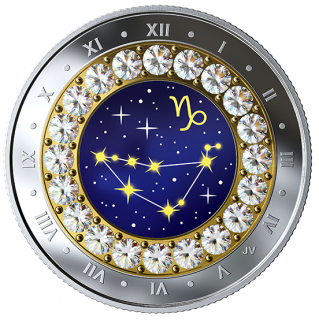 2019 - $5 - 2019 Capricorn: Zodiac Series - Pure Silver Coin made with Swarovski® Crystals