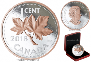 2018 - 1 Cent - 5 oz. Pure Silver Coin with Rose Gold Plating - Big Coin Series: Maple Leaf