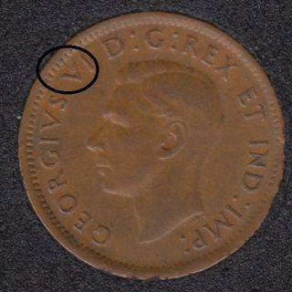 1947 ML - Break V to Rim - Canada Cent