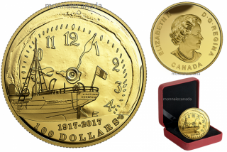 2017 - $100 - 14-karat Gold Coin – 100th Anniversary of the Halifax Explosion