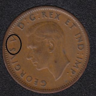 1940 - Break S to V - Canada Cent