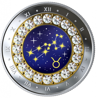2019 - Taurus: Zodiac Series - Pure Silver Coin made with Swarovski® Crystals