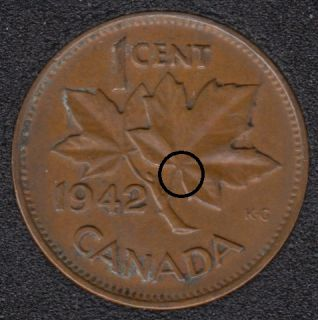 1942 - Dot on ML - Canada Cent