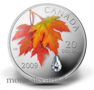 2009 $20 Fine Silver Coin -  Maple Leaf Autumn Crystal Raindrop - TAX Exempt