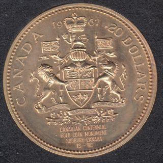 1967 CANADA $20 DOLLAR - Centennial Gold PLATED Coin Monument Sudbury Canada