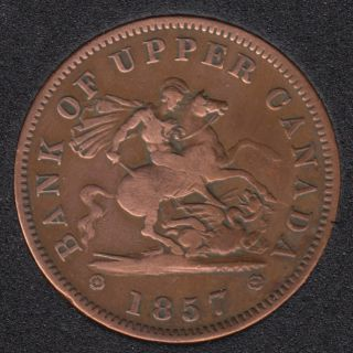 P.C. 1857 Bank of Upper Canada Penny - VF - Nettoyé - PC-6D