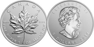 2014 - $5 - 1 oz. Fine Silver Coin - Silver Maple Leaf  World Money Fair Privy Mark