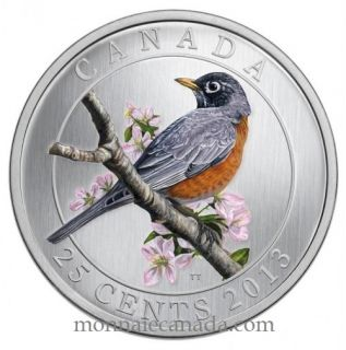 2013 - American Robin - Coloured Coin 25c