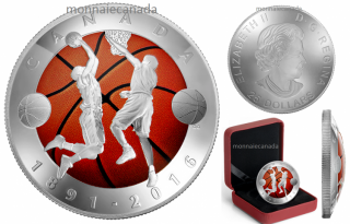2016 - $25 - Pure Silver Coloured Coin – 125th Anniversary of the Invention of Basketball