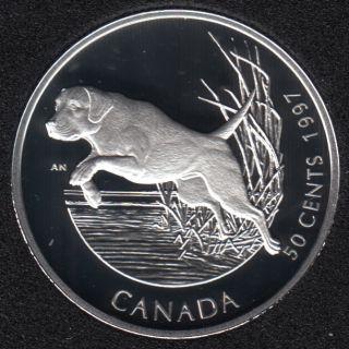 1997 - Proof - Labrador Retriever - Sterling Silver - Canada 50 Cents