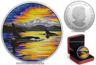 2017 - $30 - Animals in the Moonlight – 2 oz. Pure Silver Glow-In-The-Dark - Orcas