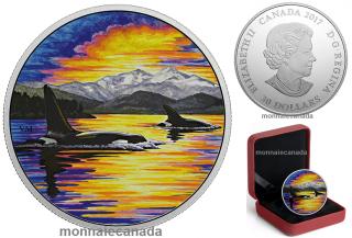 2017 - $30 - 2 oz en argent pur – Animaux au clair de lune - Orcas