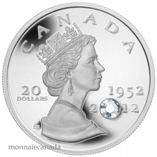 2012 - $20 - Silver Coin - The Queen's Diamond Jubilee - Swarovski Crystal