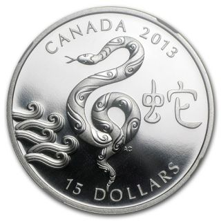 2013 - $15 - 1 oz Fine Silver Coin - Year of the Snake