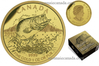 2015 - $200 - 1 oz. Pure Gold Coin - Largemouth Bass